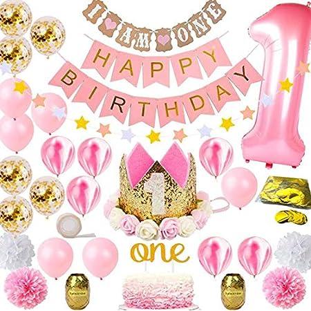 Sweetneed Cumpleaños Rosa Decoración De Fiestade 1 año Corona Cumpleaños Papel de Ventilador 1-12 Meses Mensual Pared De La Foto