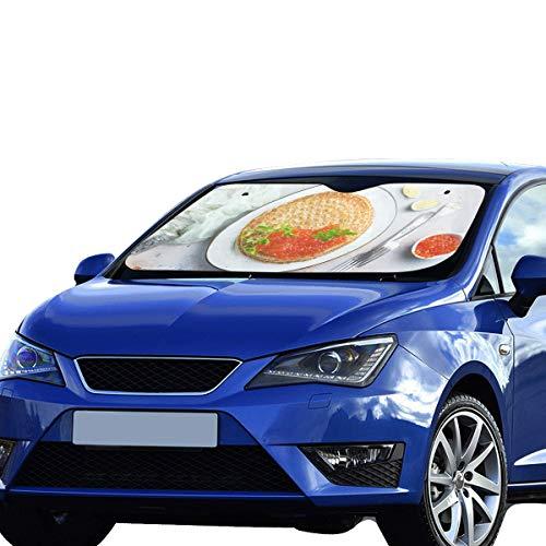 GGKDL Car Window Shade for Women Pancakes Red Salmon Caviar Fried Pancakes 55x30 Inch Anti-uv Coating Protect Seats Foldable Polyester and Aluminized Film Car Window Sun Shade SUV