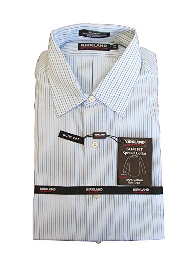Kirkland Signature Men's Slim Fit Dress Shirt- Many Size, White/Blue...