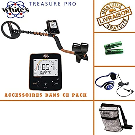 White s Treasure Pro - Detector de metales, incluye casco, auriculares y bolsa