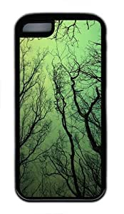 Green sky TPU Silicone Rubber Case Cover for iPhone 5C - Black