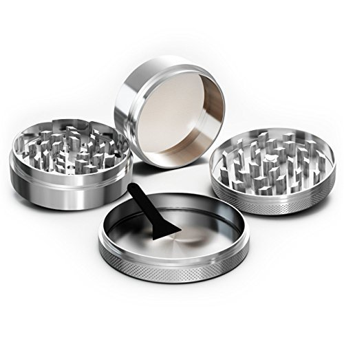Herb Grinder – Spice and Tobacco Grinder with Stainless Steel Pollen Catcher- Heavy Duty Aerospace Aluminum Metal 4 Piece Set Manual Kitchen Grinder With Smooth Grinding Technology - Cuts Thru Tough Herbs And Spices Like Butter - Lifetime Guarantee (Herb Grinder Aerospace)
