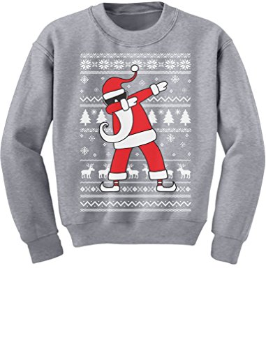 TeeStars - Dabbing Santa Funny Ugly Christmas Party Youth Kids Sweatshirt X-Large Gray - Party Youth Sweatshirt