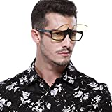 Duco Optiks Clip on Rimless Ergonomic Advanced Computer Glasses with Amber Tint Lens Oversize 8013