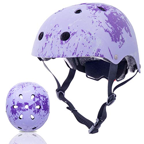 Exclusky Kids Bike Helmet 3-8 Years Toddler Helmets, Multi-Sport Cycling Skateboard Scooter Helmet for Boys Girls (Lavender Color)