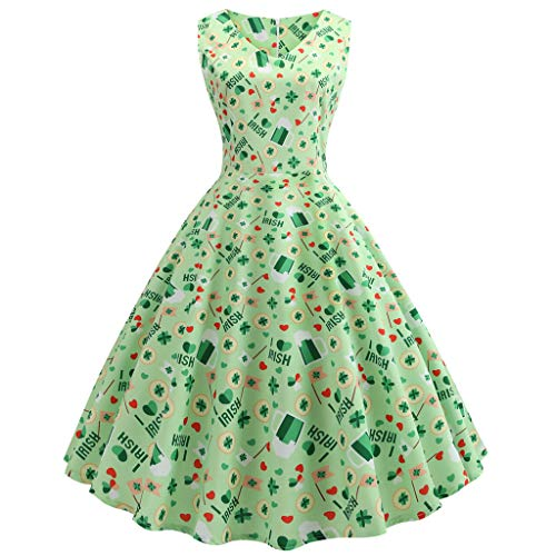 atrick's Day Women's Clover Sleeveless Evening Print Party Prom Swing Dress ()