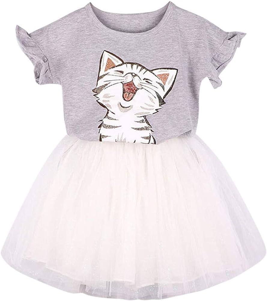 Niñas Lindas Gato Estampado Camiseta + Tutu Falda Conjunto de Ropa ...