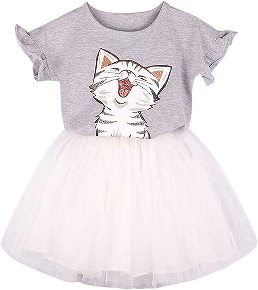 Niñas Lindas Gato Estampado Camiseta + Tutu Falda Conjunto de Ropa para niña bebé Camisa de Animals Manga Corta Gris 3-4 años: Amazon.es: Ropa y accesorios