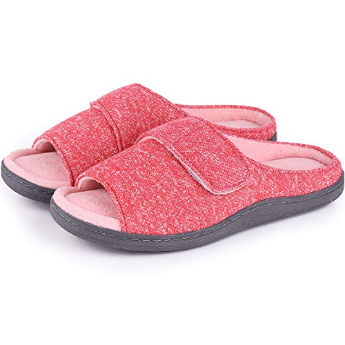 Women's Soft Cotton Knit Memory Foam Slippers Anti-Skid House Shoes with Adjustable Hook and Loop (7-8 B(M) US, Red) ()