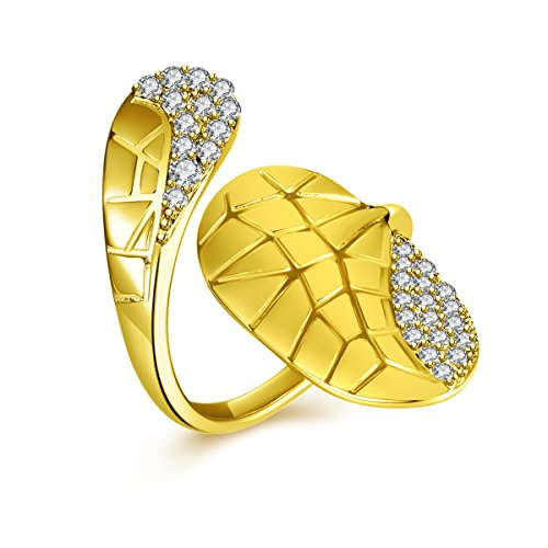 IcedJewels 0.44 cttw Round CZ 14K Yellow Gold Nail Finger Tips Ring, 7 (14k Yellow Nail Gold)