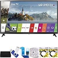 LG 49UJ6300 49 Super UHD 4K HDR Smart LED TV (2017 Model) Plus Terk Cut-the-Cord HD Digital TV Tuner and Recorder 16GB Hook-Up Bundle