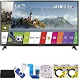 LG 49UJ6300 49'' Super UHD 4K HDR Smart LED TV (2017 Model) Plus Terk Cut-the-Cord HD Digital TV Tuner and Recorder 16GB Hook-Up Bundle