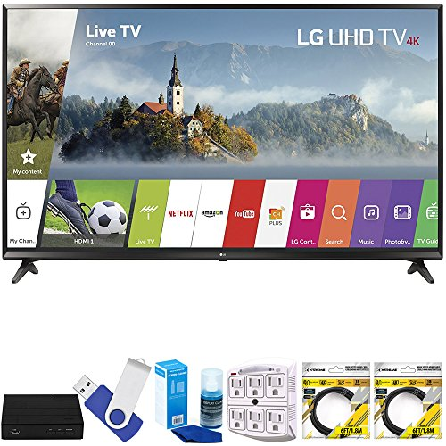 LG 49UJ6300 49'' Super UHD 4K HDR Smart LED TV (2017 Model) Plus Terk Cut-the-Cord HD Digital TV Tuner and Recorder 16GB Hook-Up Bundle by LG