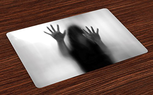 Lunarable Horror House Place Mats Set of 4, Silhouette of Woman behind the Veil Scared to Death Obscured Paranormal Photo Print, Washable Fabric Placemats for Dining Room Kitchen Table Decor, Gray by Lunarable