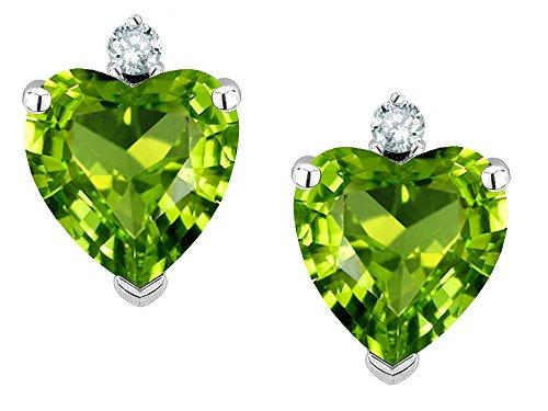(Star K Heart Shape 7mm Genuine Peridot Earrings Studs 14 kt White Gold)