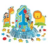 23 Piece Wild Fun To Be One Blue Boy's 1st Birthday Party Table Decorating Kit