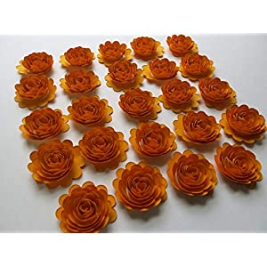 24 Gold Paper Carnations, 1.5 Inch Scalloped Roses, Autumn Mum Flowers 44