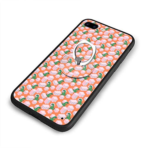 Dino Monster in Night City Pink iPhone 7 Plus Case, iPhone 8 Plus Case with Ring Holder Kickstand, 360¡« Rotation Metal Ring Grip Work Mount Hard PC Slim Cover for -