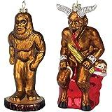 (Set) 2 Mythological Creature Holiday Ornaments - Bigfoot & Krampus