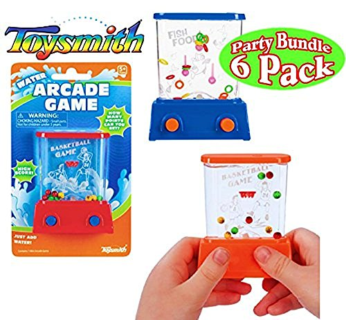 Water Basketball Game (Toysmith Mini Handheld Water Arcade Games Basketball & Fish Food Party Set Bundle - 6 Pack (Assorted Colors))