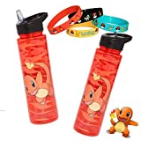 Pokemon Go Charmander Fire Orange 16 oz Water Bottle with Bracelets