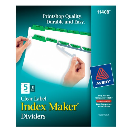 Avery Index Maker Dividers, 5-Tab, White,  5 Sets (11408) by Avery