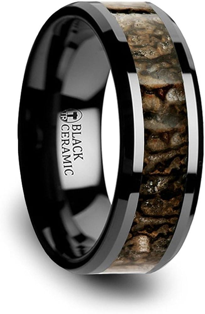 8mm Thorsten Rings Silurian Dinosaur Bone Inlaid Black Ceramic Beveled Edged Ring