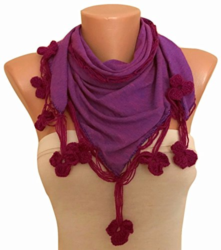 Hand Crocheted Scarf (Scarf with Hand Crocheted Flowers Edge)