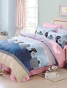 GXS/ gatos negros 100% sábanas de algodón 4pcs juego de tapas de tamaño edredón del lecho de la reina , queen: Amazon.es: Hogar