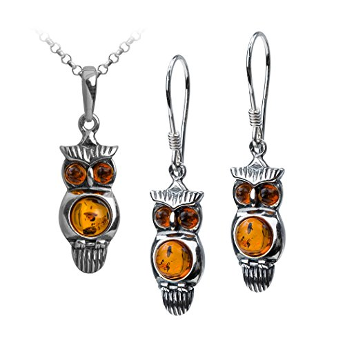 Sterling Silver Amber Owl Earrings Pendant Set Necklace 18 Inches
