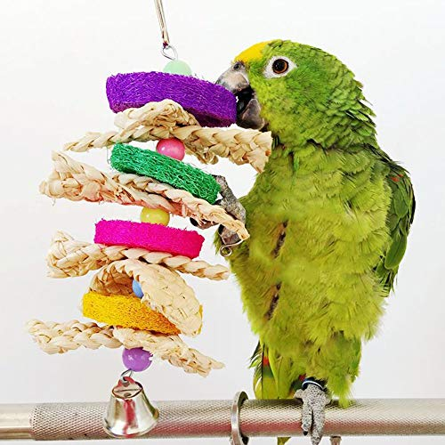 Bird Toys - Parrot Toys Pet Bird Bites Climb Chew Parakeet Budgie Products With Hanging Swing Bell Toy - Talking Beaaks Canary Sneakers Swing Kabob Shoes Hanging Bulk Rawhide African Sticks Outsi