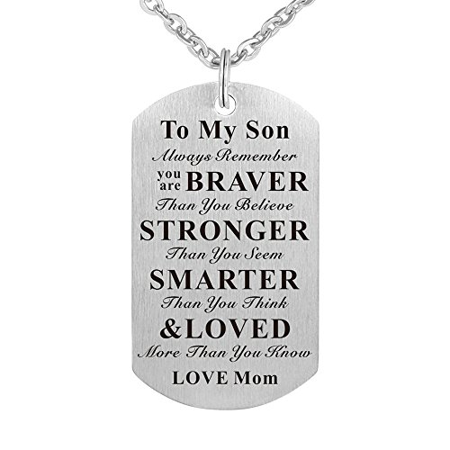 to My Son Kids Child Always Remember You are Braver Than You Believe Birthday Gift Jewelry Dog Tag Keychain Pendant Necklace from Mom Mother