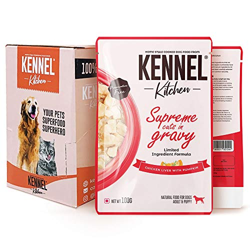 Kennel Kitchen Wet Dog Food for Adult and Puppy, Supreme Cuts in Gravy, Chicken Liver Recipe with Pumpkin, 100g (Pack of 12)