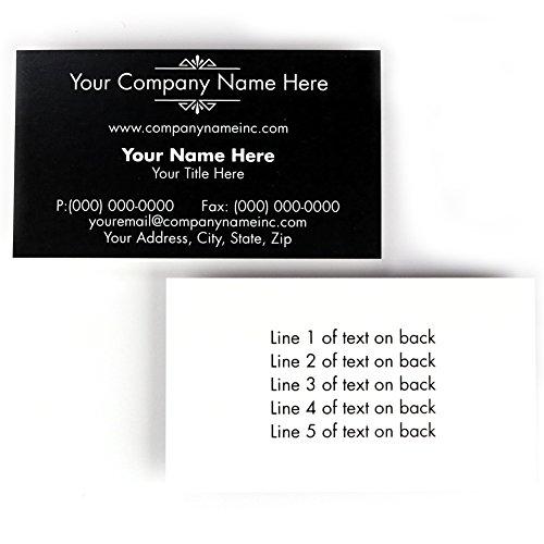 (Buttonsmith Custom Black Deco Premium Printed Business Cards - 3.5