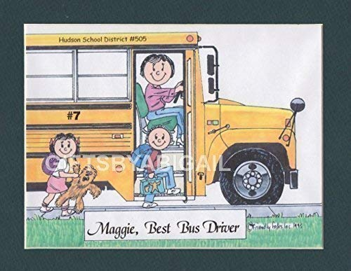 School Bus Driver Gift Personalized Custom Cartoon Print 8x10, 9x12 Magnet or Keychain