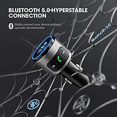 VicTsing Bluetooth FM Transmitter for Car, Bluetooth V5.0, QC3.0 Bluetooth Car Adapter with LED Backlit, Support Siri Google Assistant, USB Flash Drive, Handsfree Car Kit-Silver: Electronics