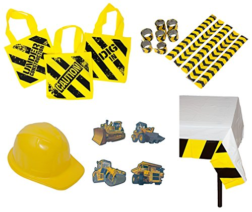 Construction Birthday Party Supplies: Ready-To-Use Favor & Decoration Set - (12) Plastic Construction Hats, (12) Construction Zone Tote Bags, (72) Tattoos, (12) Slap Bracelets, (1) Table (Plastic Construction Hat)