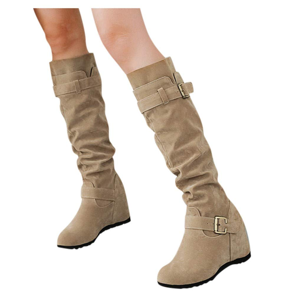 Women's Slip-On Wedges Knee Bare Boots Square Heel Casual Middle Booties Beige by Frunalte Women Shoes