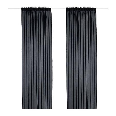 ikea vivan curtains 1 pair black 145x300 cm - Ikea Curtains