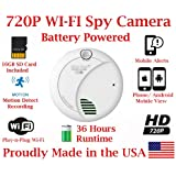 720p HD Battery Powered Smoke Detector WIFI Spy Camera Wireless IP P2P Covert Hidden Nanny Camera Spy Gadget up to 36 HOURS RUNTIME