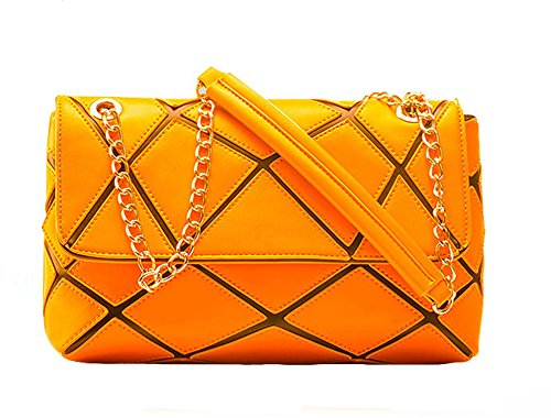 Oudy Womens East West Bag Diamond Pu Leather Flap Satchel Shoulder Chain Bag Orange