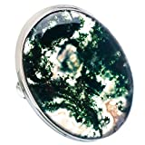 Large Green Moss Agate 925 Sterling Silver Ring Size 8 - Handmade Jewelry RING856227