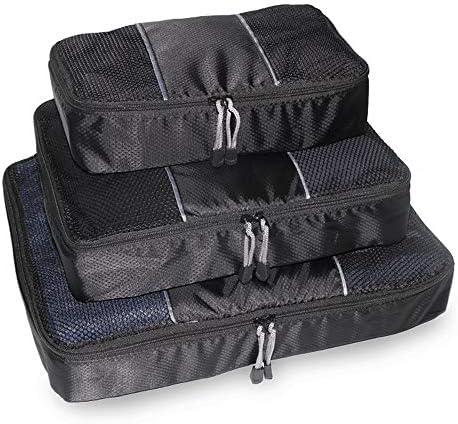 トラベルポーチ 旅行荷物オーガナイザーバッグ圧縮ポーチ服スーツケースのための3PCSパッキングキューブ値セット(カラー:ブラック) (Color : Black, Size : Free Size)