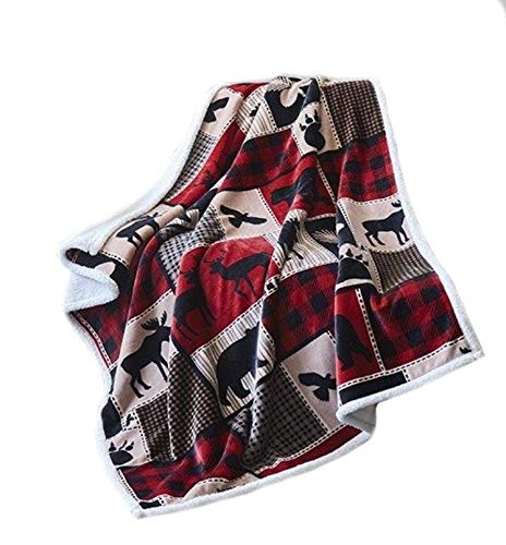 Virah Bella Lodge Life Flannel Throw Blanket with Sherpa Bac