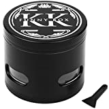 Tobacco-Herb Spice Grinder by K.K Grinder – 2.5'', 54 Tooth Herb Grinding Mill with Acrylic Window to Conveniently Check the Degree of Grinding + Free Scraper for Easy Cleaning
