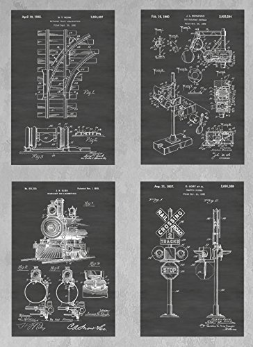 Train and Railway Signs, Tracks and Locomotive Wall Decor Collection: Set of Four Patent Print Art Posters: Choose From Multiple Size and Background Color Options