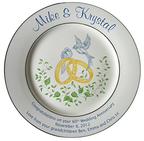 Heritage Pottery Personalized Bone China Commemorative Plate for A 60th Wedding Anniversary - Rings and Doves Design with 2 Silver Bands