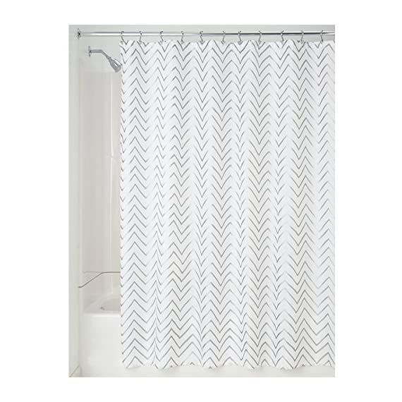 """mDesign Long Decorative Metallic Pattern, Water Repellent, Fabric Shower Curtain for Bathroom Showers and Stalls, Machine Washable - Chevron Zig-Zag Print, 72"""" x 84"""" - White/Silver - WATER RESISTANT: The tight weave of the fabric and superior quality of the polyester yarns provide this curtain with a firm, smooth texture, which promotes water bead formation and prevents the curtain from becoming soaked and from creating a mess on your bathroom floor; Drapes beautifully for a clean fresh look in your bathroom REINFORCED BUTTON HOLES: Reinforced button holes work with most types of shower hooks and rings for quick and simple installation; Top hem is reinforced to hold up to long-term use; This shower curtain will complement any bathroom - use at home, apartment, condo, hotel, camper, RV, dorm, school shower, athletic club, gym and everywhere else you need a reliable shower curtain or liner SIMPLE INSTALLATION: Each curtain contains 12 reinforced buttonholes that fit most standard shower hooks (not included); Machine washable to keep mold and mildew away; The long length is perfect for higher ceilings and keeps water in the shower or tub and not on your floor; mDESIGN TIP: Check your space to ensure that you have the curtain of the appropriate length, this is much longer than a standard shower curtain which is typically no more than 72 inches long - shower-curtains, bathroom-linens, bathroom - 51MGc2LPytL. SS570  -"""