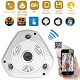 ixaer 360 Panoramic Wireless IP Camera, Fisheye IP Camera Wifi Security Surveillance Camera VR 3D Home Security IP Camera Audio Video Support Remote View IR Motion Detection (360 Panoramic)