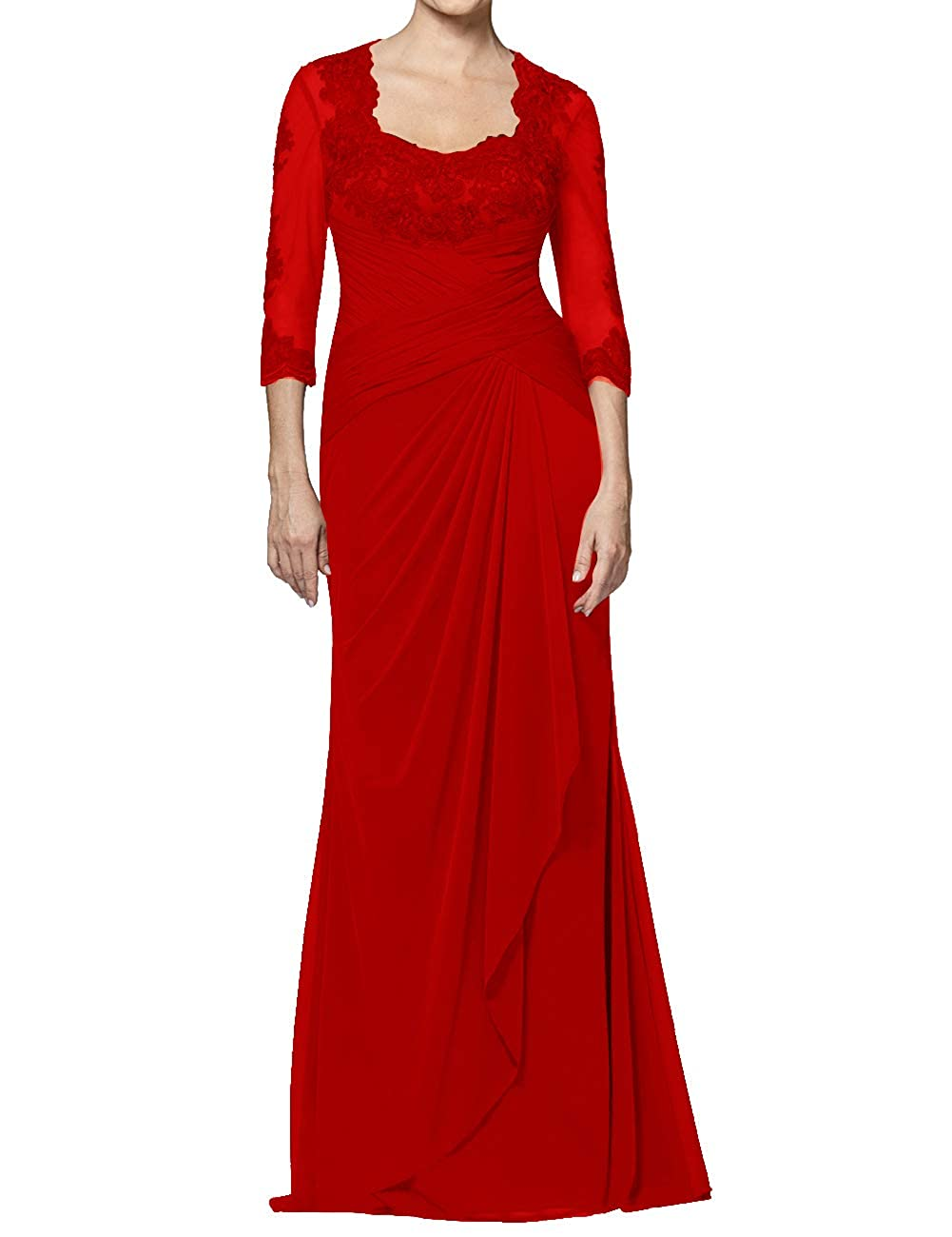 Red Mother of The Bride Dresses Long Appliques Evening Party Prom Gown for Women